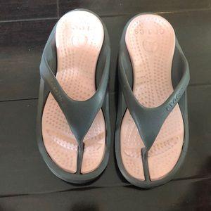 Crocs Pink and Grey Flip Flops